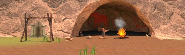 Teaching history of stone age cavemen in VR