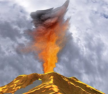 Active volcano ejecting ash cloud